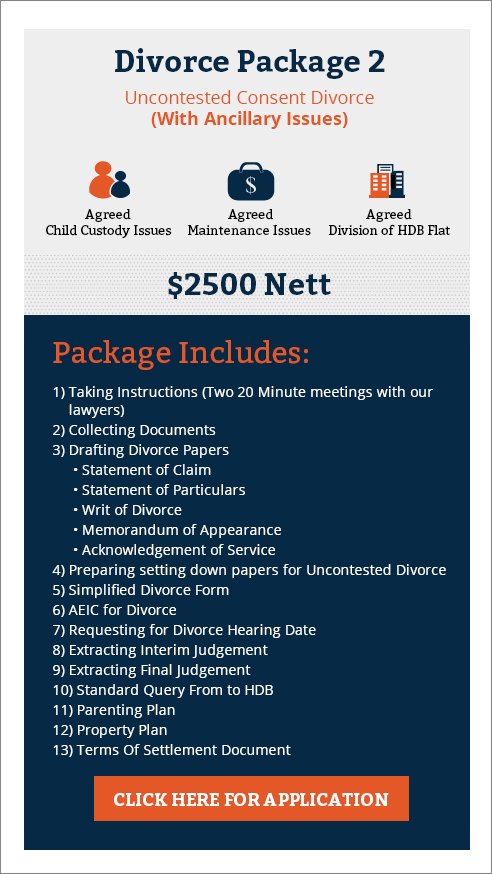Uncontested consent divorce with hdb flat & child custody and maintenance issue only